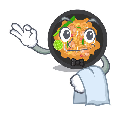 Waiter pat thai in the cartoon shape vector illustration