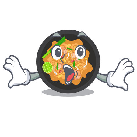 Surprised pat thai in the cartoon shape vector illustration  イラスト・ベクター素材