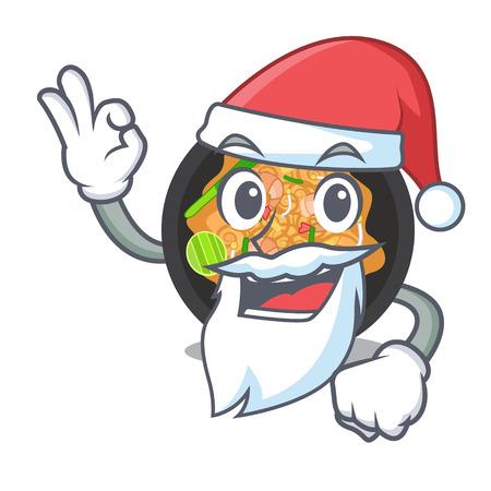 Santa pat thai on the mascot plate vector illustration