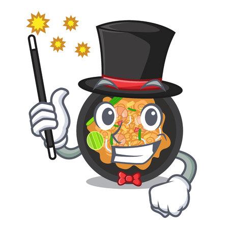 Magician pad thai on the mascot plate Illustration