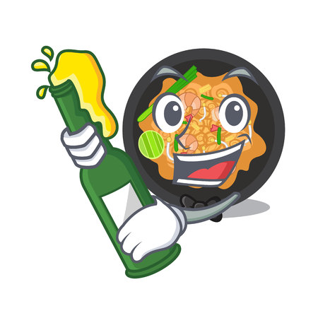 With beer pat thai on the mascot plate vector illustration