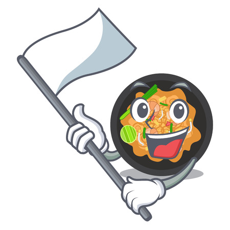 With flag pat thai on the mascot plate vector illustration