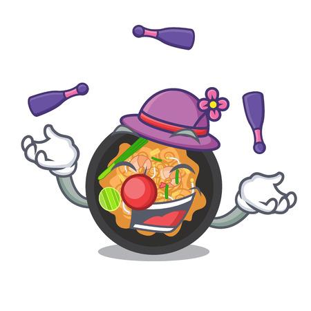 Juggling pat thai on the mascot plate vector illustration