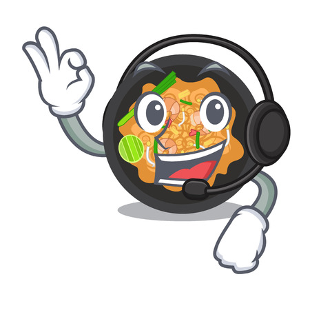 With headphone pat thai on the mascot plate vector illustration
