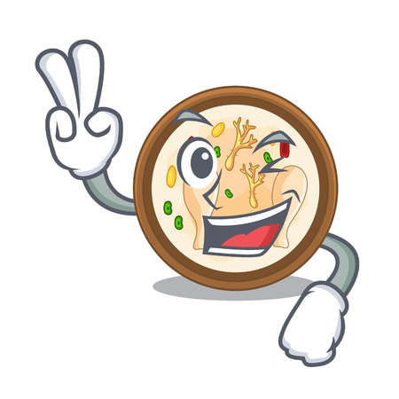 Two finger samgyetang isolated with in the mascot vector illustration