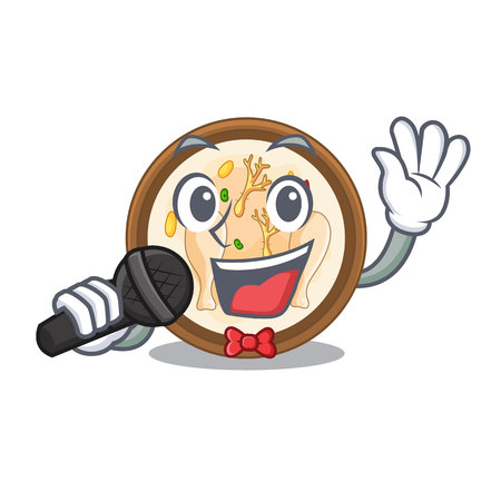 Singing samgyetang in the a character shape vector illustration