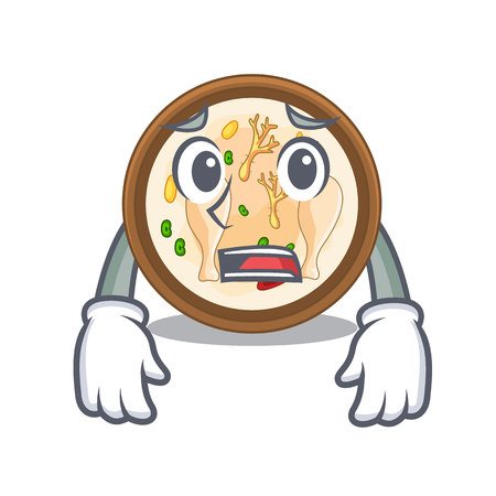 Afraid samgyetang in the a character shape vector illustration