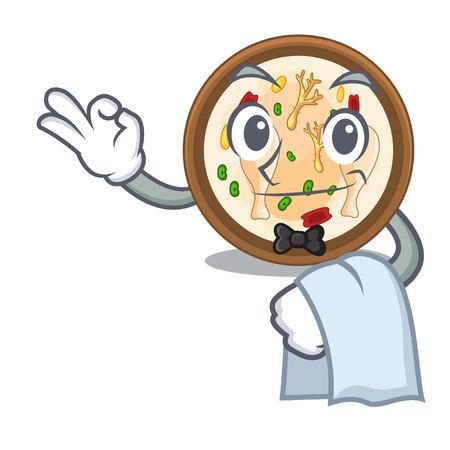 Waiter samgyetang in the a character shape vector illustration