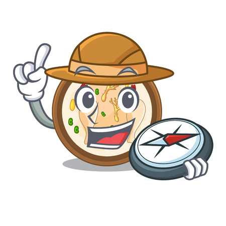 Explorer samgyetang in the a character shape vector illustration