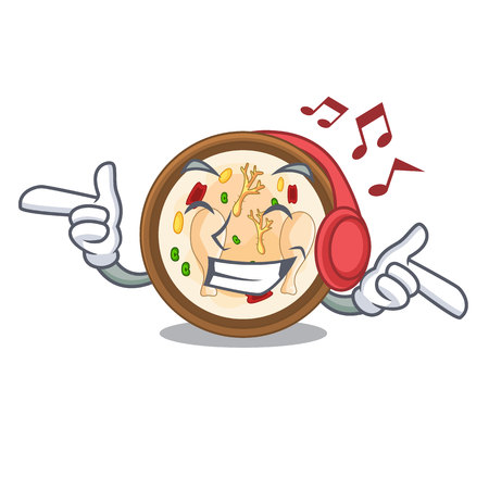 Listening music samgyetang in the a character shape vector illustration Stock Illustratie
