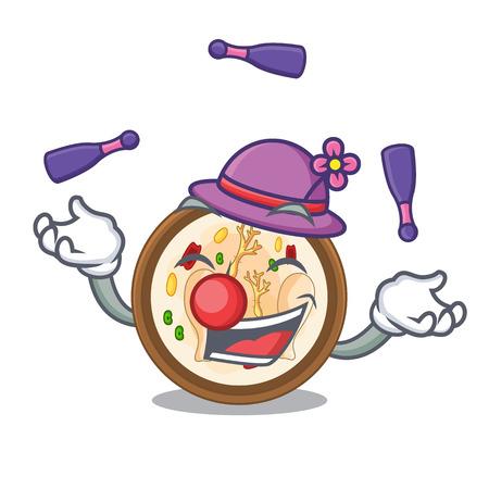 Juggling samgyetang in a the cartoon plate vector illustration