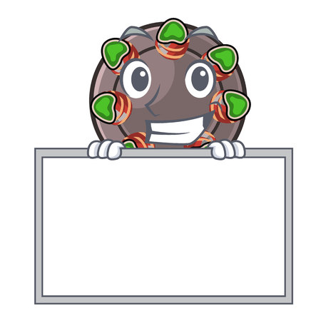 Grinning with board escargot isolated with in the mascot vector illustration