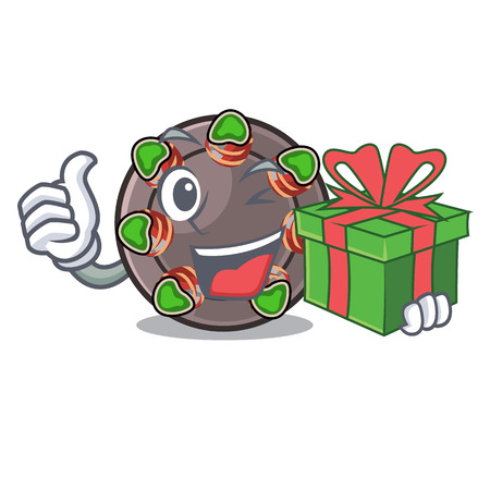 With gift fried escargot in a cartoon hot pan