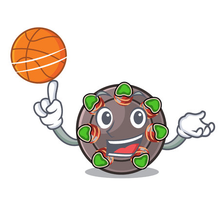 With basketball escargot isolated with in the mascot vector illustration Illustration
