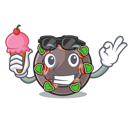 With ice cream escargot is presented on character plates vector illustration