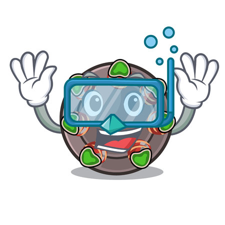 Diving escargot is presented on character plates vector illustration