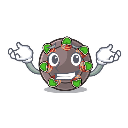 Grinning escargot is presented on character plates vector illustration Illustration