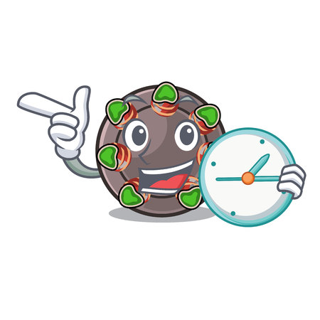 With clock escargot is presented on character plates vector illustration