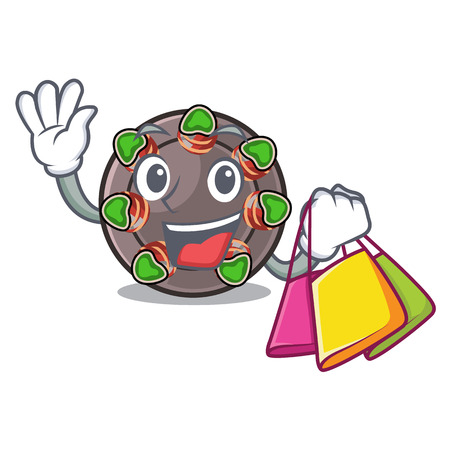 Shopping escargot is presented on character plates vector illustration