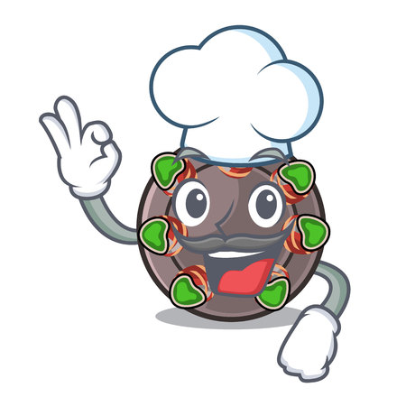 Chef escargot is presented on character plates vector illustration Illustration