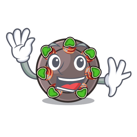 Waving escargot is presented on character plates vector illustration
