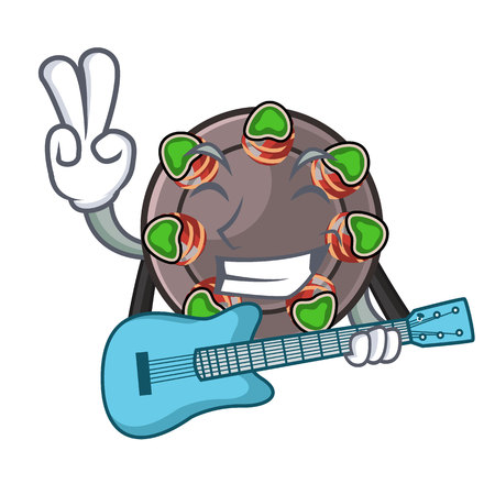 With guitar fried escargot in a cartoon hot pan Illustration