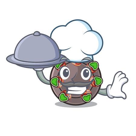 Chef with food fried escargot in a cartoon hot pan Ilustração