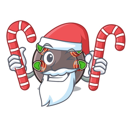 Santa with candy escargot in the a cartoon shape vector ilustration