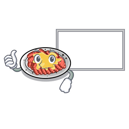 Thumbs up with board carpaccio is served on cartoon plates vector illustration