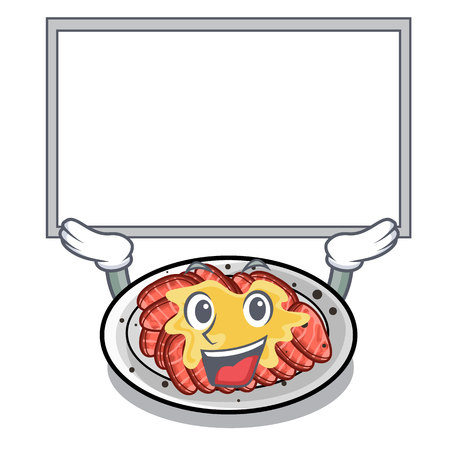 Up board carpaccio is served on cartoon plates vector illustration