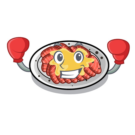 Boxing carpaccio is served on cartoon plates vector illustration