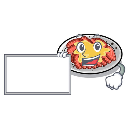 With board carpaccio is served on cartoon plates vector illustration Illustration