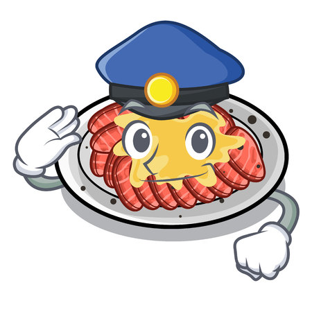 Police carpaccio is served on cartoon plates vector illustration
