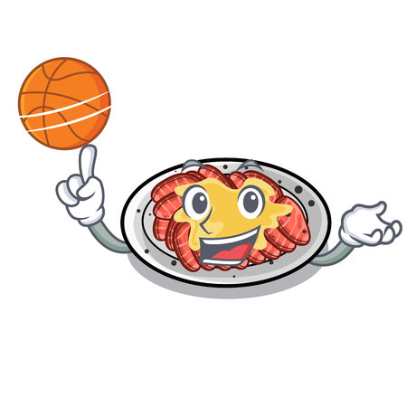 With basketball carpaccio is served on cartoon plates vector illustration