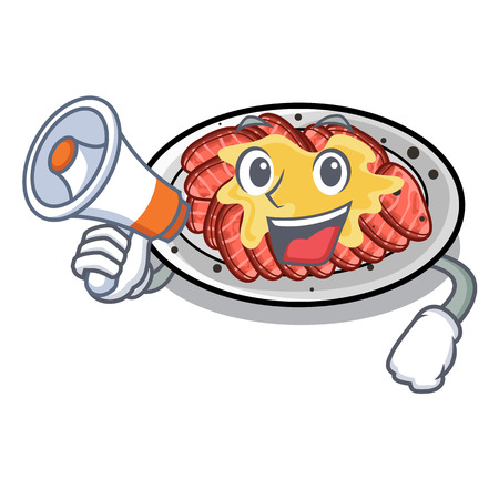 With megaphone carpaccio is served on cartoon plates vector illustration