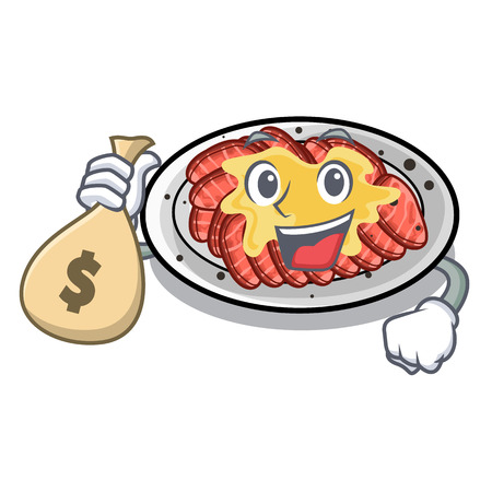 With money bag carpaccio is served on cartoon plates vector illustration
