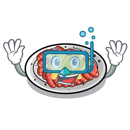 Diving carpaccio above the wooden cartoon table vector illustration Ilustração