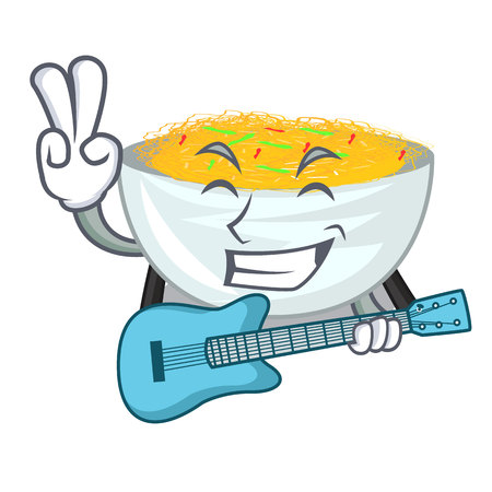With guitar Fried noodles served on cartoon pan vector illustration