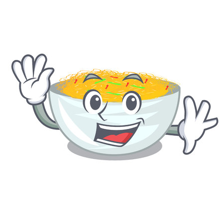 Waving fried noodles isolated with the character vector illustration