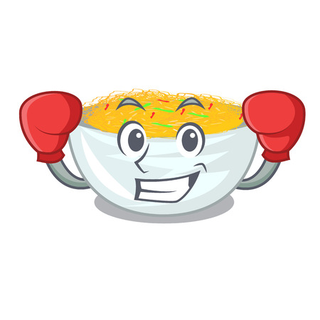 Boxing cartoon fried noodles in a pan vector illustration