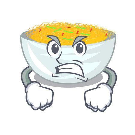 Angry Fried noodles served on cartoon pan vector illustration Illustration