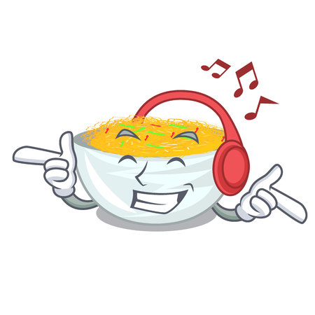 Listening music Fried noodles served on cartoon pan vector illustration