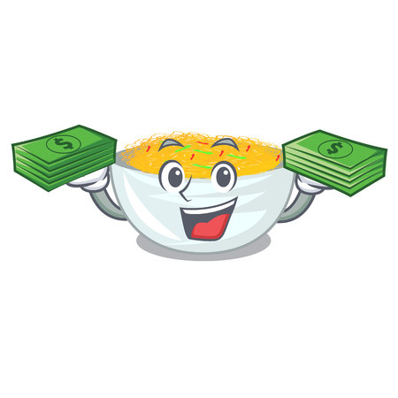 With money bag Fried noodles served on cartoon pan vector illustration