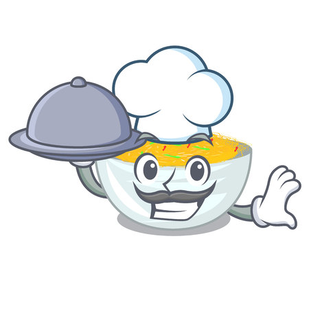 Chef with food Fried noodles served on cartoon pan vector illustration Illustration