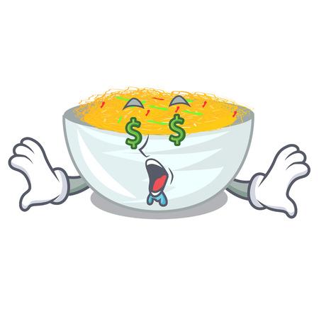Money eye fried noodles in the mascot shape vector illustration