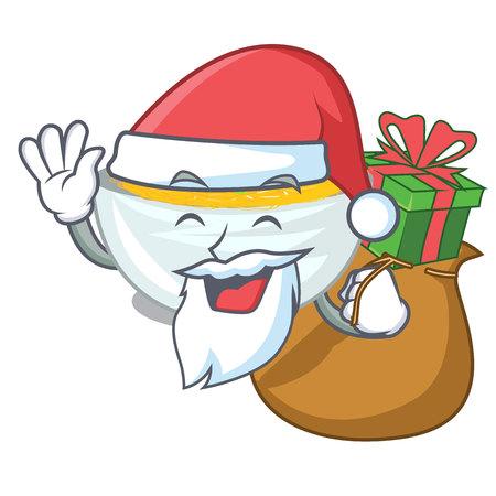 Weihnachtsmann mit gebratenen Nudeln des Geschenks in der Maskottchenform-Vektorillustration Vektorgrafik