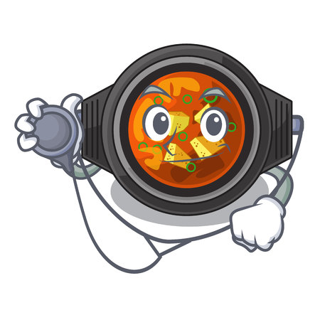 Doctor kimchi tighe served in mascot bowl vector illustration