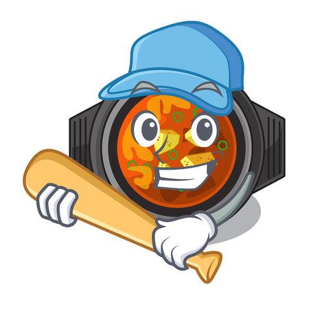 Playing baseball kimchi tighe served in mascot bowl Ilustração