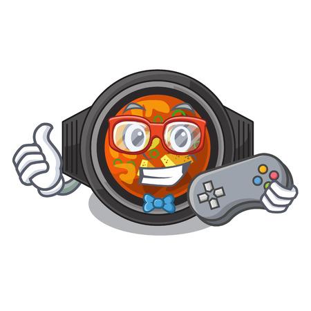 Gamer kimchi tighe in the cartoon shape vector illustration