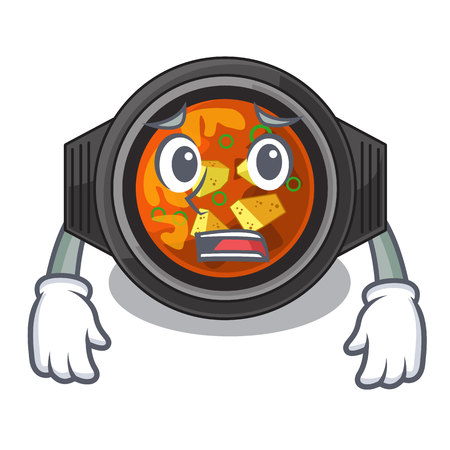 Afraid kimchi tighe in the cartoon shape vector illustration